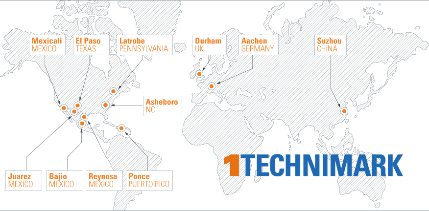 Technimark global locations map